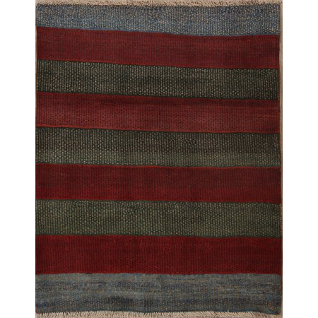 Hand Knotted Stripes (One-Of-a-Kind Striped Color-Full Modern Gabbeh Hand Knotted 4x5 Rug)