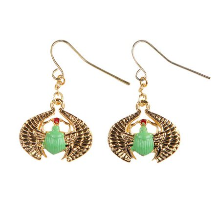 Egyptian Scarab Golden Pewter Earrings Jewelry- Mystica Collection (Scarab Earrings)