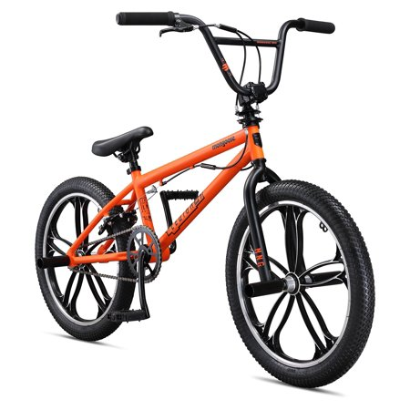 Mongoose Legion Mag Freestyle BMX Bike Featuring Hi-Ten Steel Frame and 40x16T BMX Gearing with 20-Inch Mag Wheels, Multiple Colors Available Orange