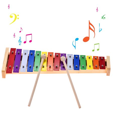 Xylophone Glockenspiels (Colorful Glockenspiel Xylophone Wooden & Aluminum Percussion Musical Instrument Educational Toy 15 Tones with 2 Mallets for Baby Kids)