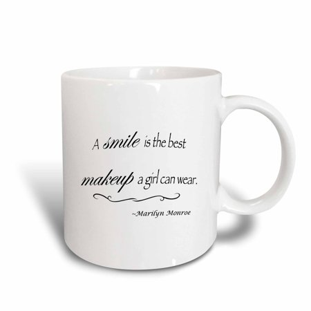 3dRose A smile is the best makeup a girl can wear, Marilyn Monroe quote, Ceramic Mug, 15-ounce