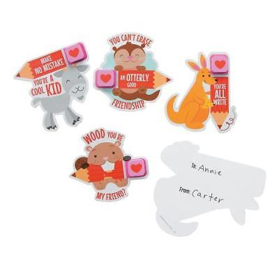 IN-13784137 Animal Valentine Cards with Erasers 24 Piece(s)