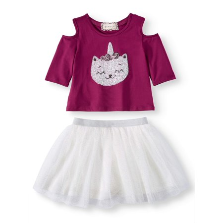 Sequin Caticorn Cold Shoulder Tee and Mesh Tutu Skirt, 2-Piece Outfit Set (Little Girls and Big Girls) - Cupcake Tutu Outfit