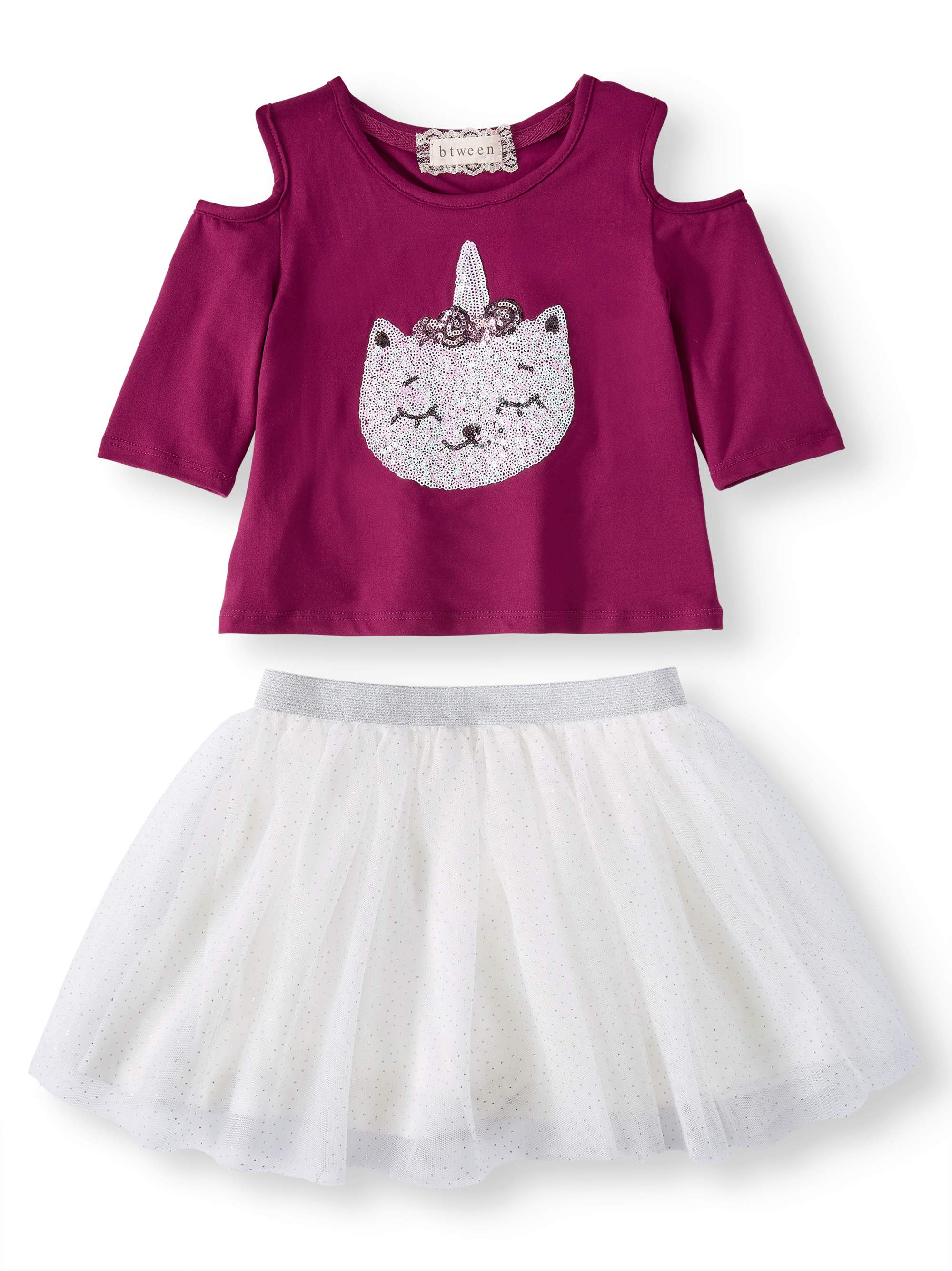Sequin Caticorn Cold Shoulder Tee and Mesh Tutu Skirt, 2-Piece Outfit Set (Little Girls and Big Girls)