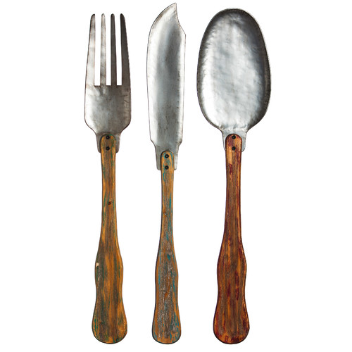 Evergreen Enterprises, Inc 3 Piece Knife, Fork and Spoon Metal and Wood Wall Decor Set (Set of 3)