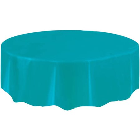 Teal Plastic Party Tablecloth, Round, - Teal Tablecloth