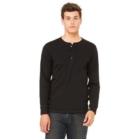 Branded Bella + Canvas Mens Jersey Long Sleeve Henley - BLACK - L (Instant Saving 5% & more) Black Cool Base Jersey