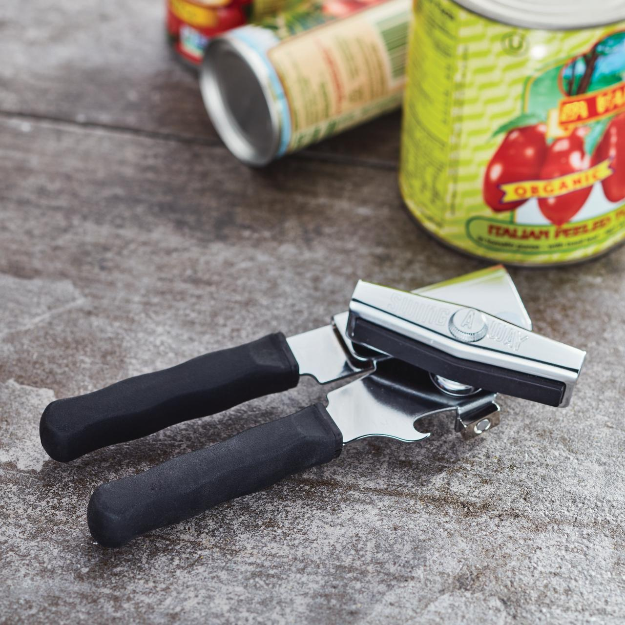 Swing-A-Way Ergo Black Can Opener with Silicone Handles