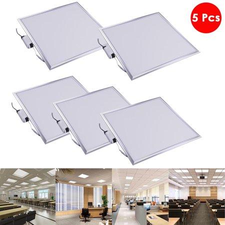 DELight 2x2 Ft 48W LED Flat Panel Light, 6000K, Silver Frame, Ultra Thin Edge-lit Glare-Free LED Troffer Office