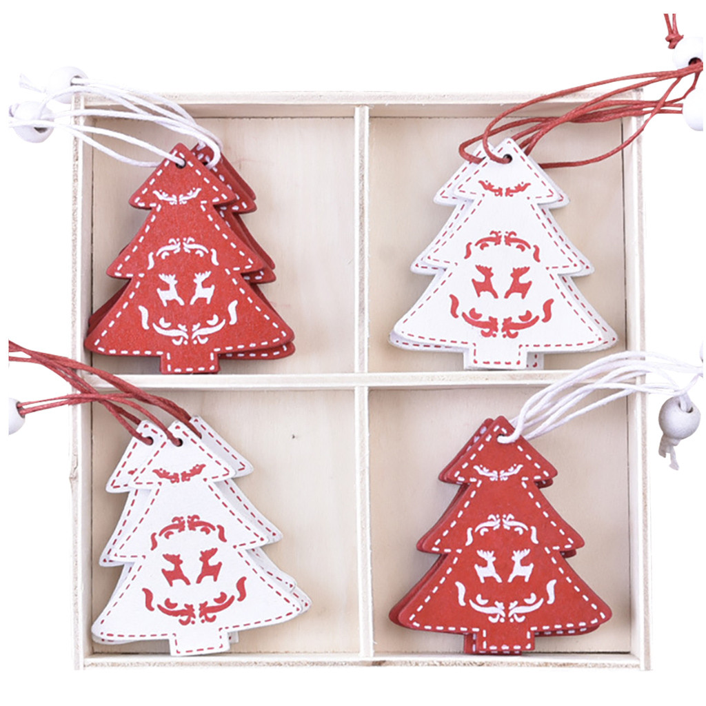 Tuscom Christmas Decorations Wooden Pendants Diy Mini Christmas Tree Boxed Ornaments Walmart Com Walmart Com