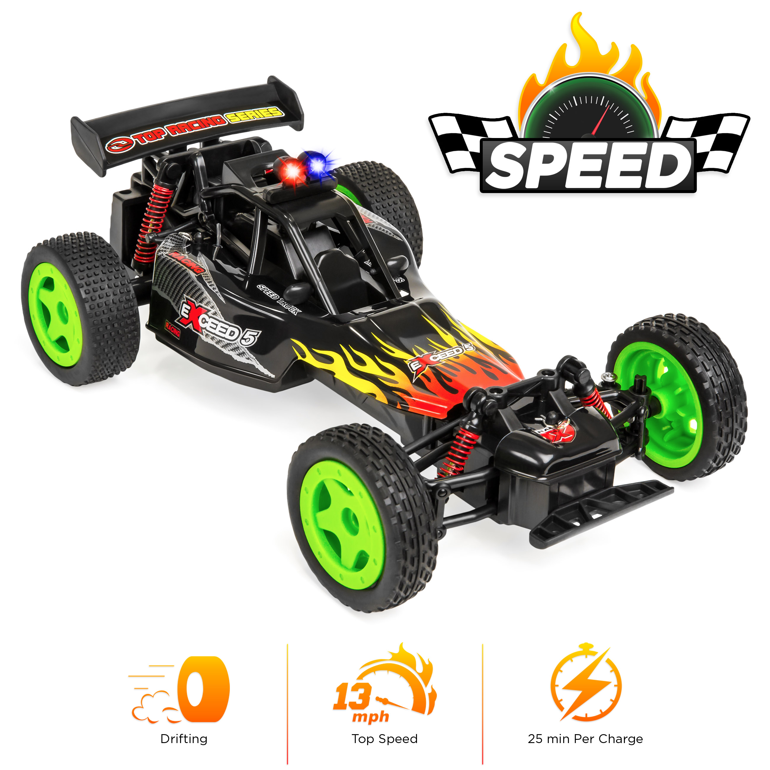 Best Choice Products 1/16 Scale 2.4GHz 4WD High Speed RC Drifting Stunt Racing Car w/ Rechargeable Battery - Black/Green