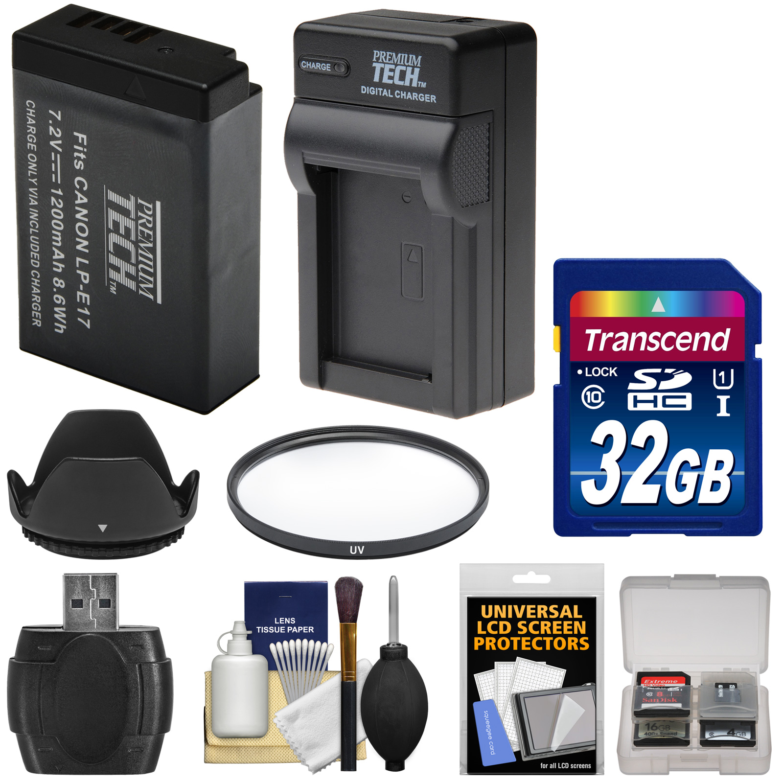 Essentials Bundle for Canon EOS 77D, Rebel T6i, T6s, T7i DSLR Cameras & 18-135mm Lens with LP-E17 Battery & Charger + 32GB Card + UV Filter + Hood + Kit