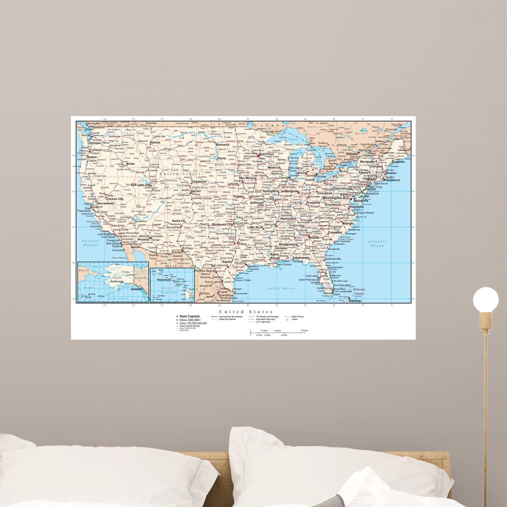 United States America Map Wall Mural by Wallmonkeys Peel and Stick ...
