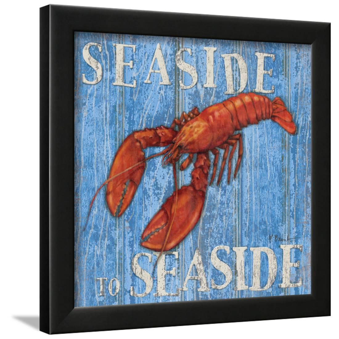 Coastal USA Lobster Framed Print Wall Artwork By Paul Brent by Art.com