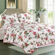 Cozy Line Home Fashions Floral White Red Colorful Reversible Quilt Bedding Set 100% Microfiber Bedspread, Colverlet for Women & Mens Bedroom - 1 Quilt and 2 Pillow Shams (King- 3 Piece)