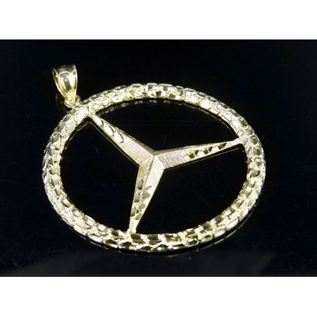 10k Gold Logo Charm - Men's 10K Yellow Gold Mercedes Nugget Logo Charm Pendant 2