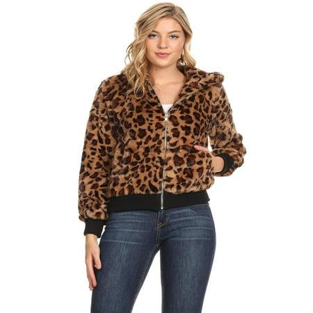 NEW MOA Women's Leopard Pattern Faux Fur Hoodie Zippered Trendy Jacket ()