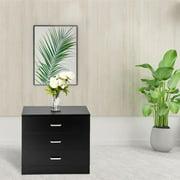 UBesGoo 3 Drawers Nightstand Tall End Table Storage Wood Cabinet Bedroom Side Storage,Beside Table Black