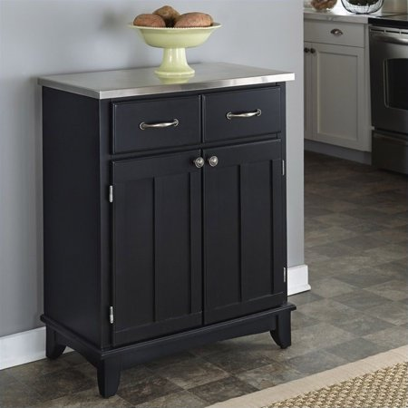 Home Styles Furniture Black Wood Buffet with Stainless Steel Top - image 2 de 2