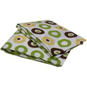 Bacati - Mod Dots Crib Toddler Bed Sheets 100% Cotton Percale, Green Yellow Choc, 2-Pack