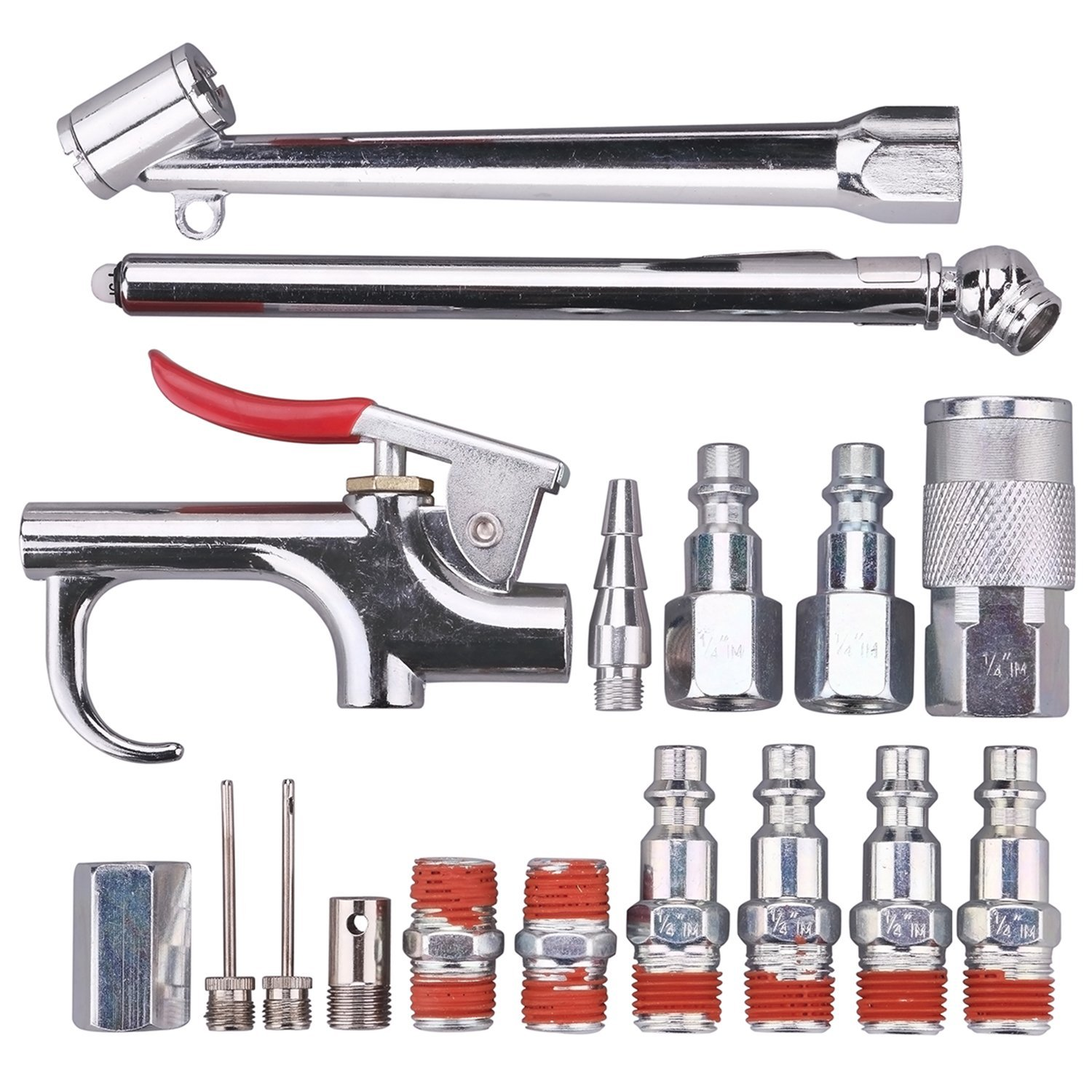 "WYNNsky Air Tool And Accessory Kit, 1/4"" NPT 17 Piece Air Compressor Accessories w/Blow Gun/ Tire Gauge/Storage Case"