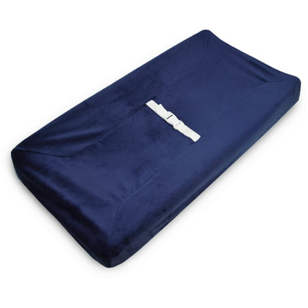 TL Care Heavenly Soft Chenille Fitted Contoured Changing Pad Cover, Navy, for
