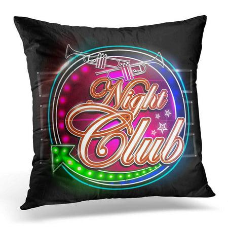 BOSDECO Advertisement of Neon Light Signboard for Night Club Celebration Pillowcase Pillow Cover Cushion Case 20x20 inch - image 1 de 1