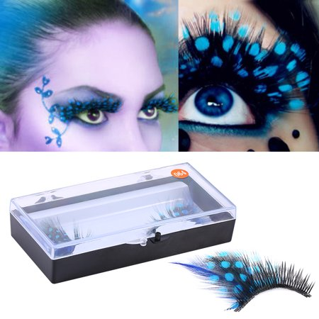 Beauty Blue Feathers 3D False Eyelashes Dense Eye Lashes Extension Makeup Tool, Feathers Color Fake Eyelash, Colorful Fake Eyelash (Blue Eyelashes)