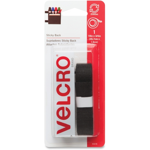 "Velcro General Purpose Sticky Back Tape - 0.75"" Width X 1.50 Ft Length - Self-adhesive - 1 Pack - Black (VEK90078)"