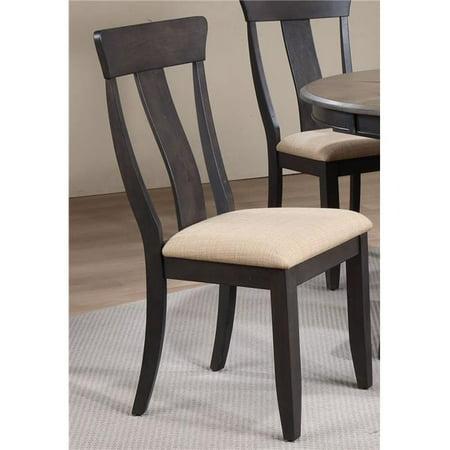 Iconic Furniture CH57-U-97-BKS Chaise de salle - manger avec dossier et assise, pierre noire, ensemble de 2 - image 1 de 1
