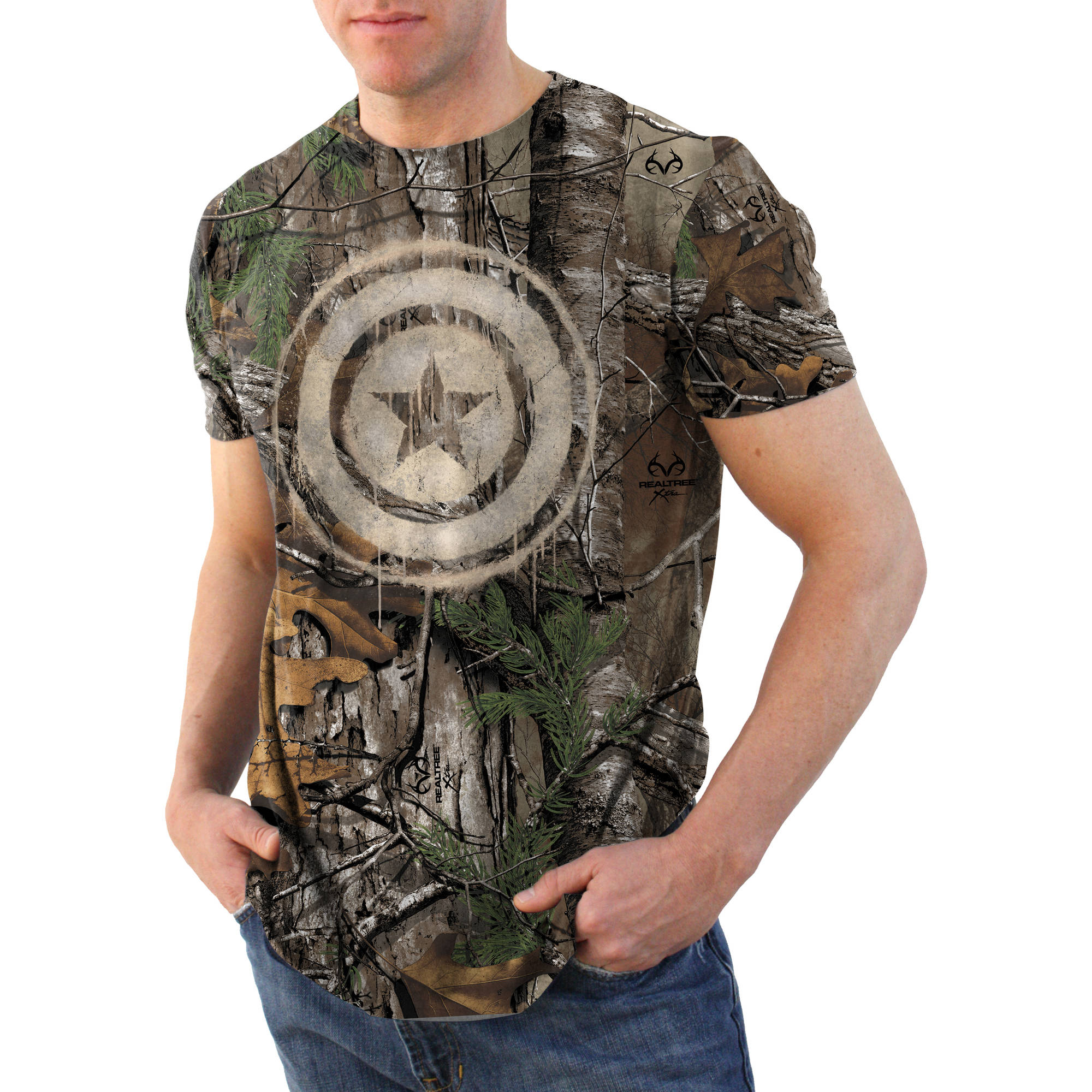 Captain America Primary Realtree Camo Big Men's Graphic Tee, 2XL