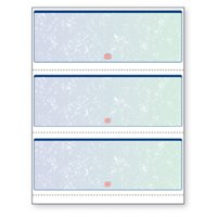 Blank Laser Checks, 3 per Page, Blue/Green Prismatic