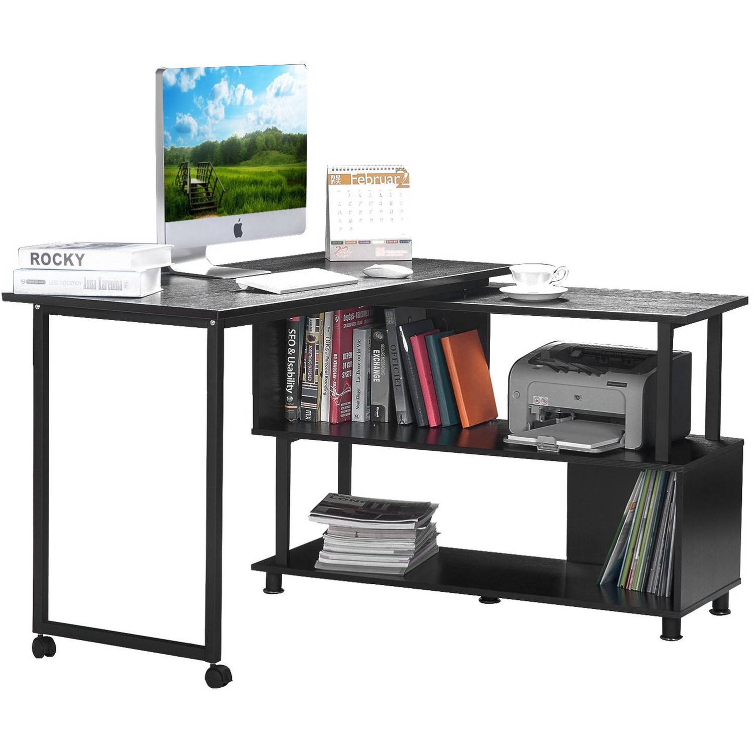 Rotatable L-shaped Computer Desk Convertible Office Corner Desk with Wheels, Espresso