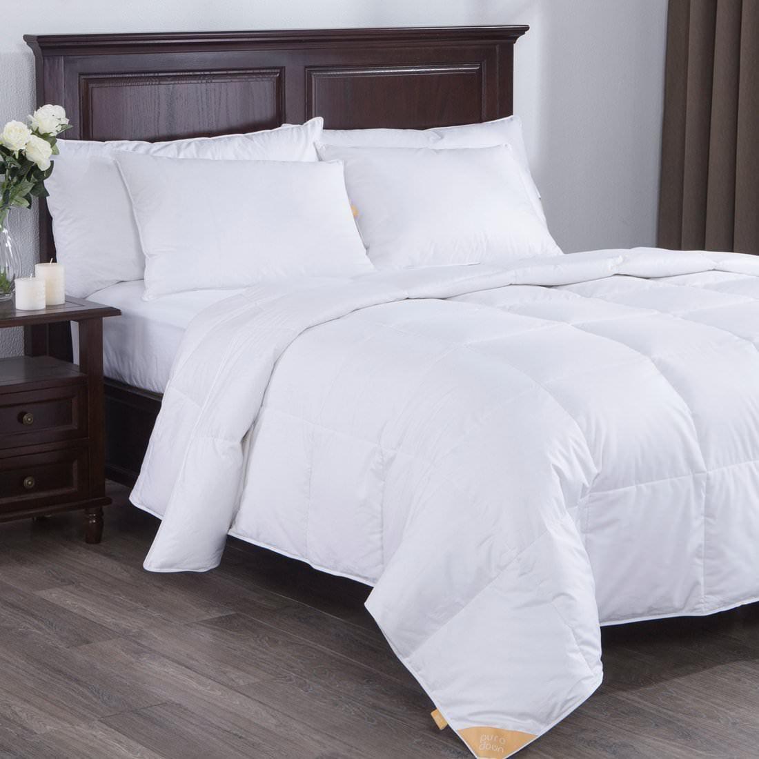 Puredown Lightweight White Goose Down Comforter Duvet Insert 300 Thread Count 100% Cotton Fabric, 600 Fill Power, Twin Size, White