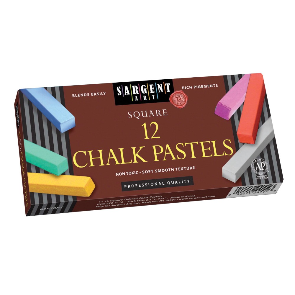 SARGENT ART 072729 Non-Toxic Square Chalk Pastel Set In Tray, Set 12