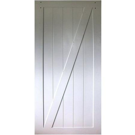Kimberly Bay Paneled Wood Primed Z-Rail Barn Door without Installation Hardware - Door Panel Rails