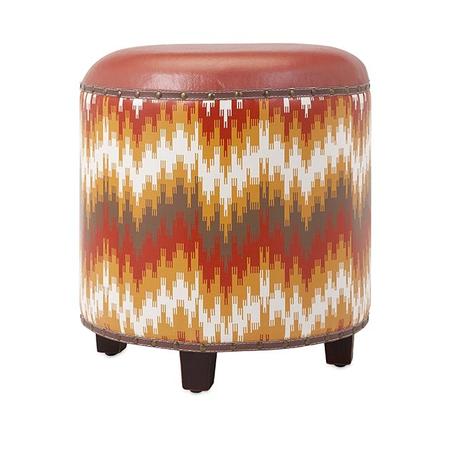 "19"" Fiery Red Yellow and Brown Geometric Patterned Decorative Metal Studded Footstool Ottoman"