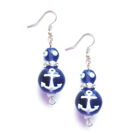 Glass Seed Bead Earrings - Sailor Blue Anchors Away Rhinestone Glass Beaded Kate and Macy Pierced Earrings