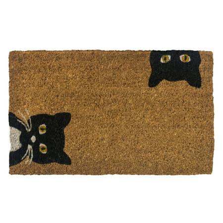 Entryways Peeping Cats Hand Woven Coconut Fiber Doormat Black Entry Door