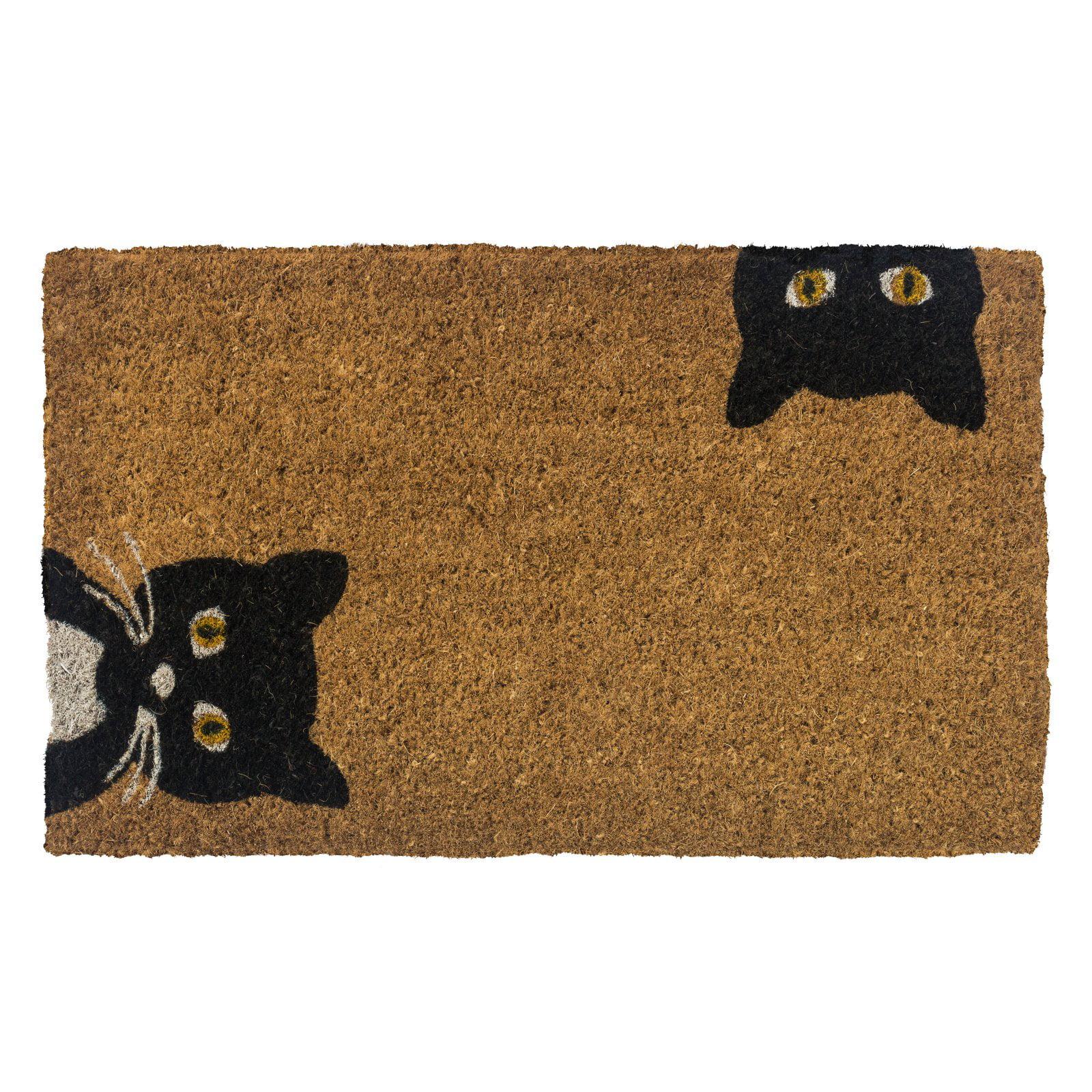 Entryways Peeping Cats Hand Woven Coconut Fiber Doormat