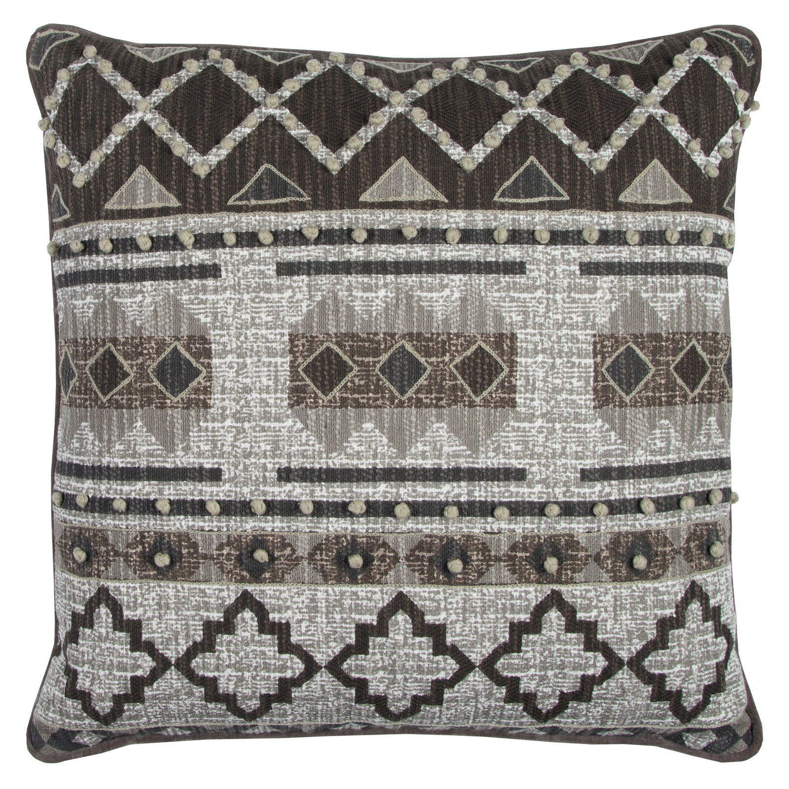 """Rizzy Home Decorative Poly Filled Throw Pillow Geometric Textured 20""""X20"""" Brown"""