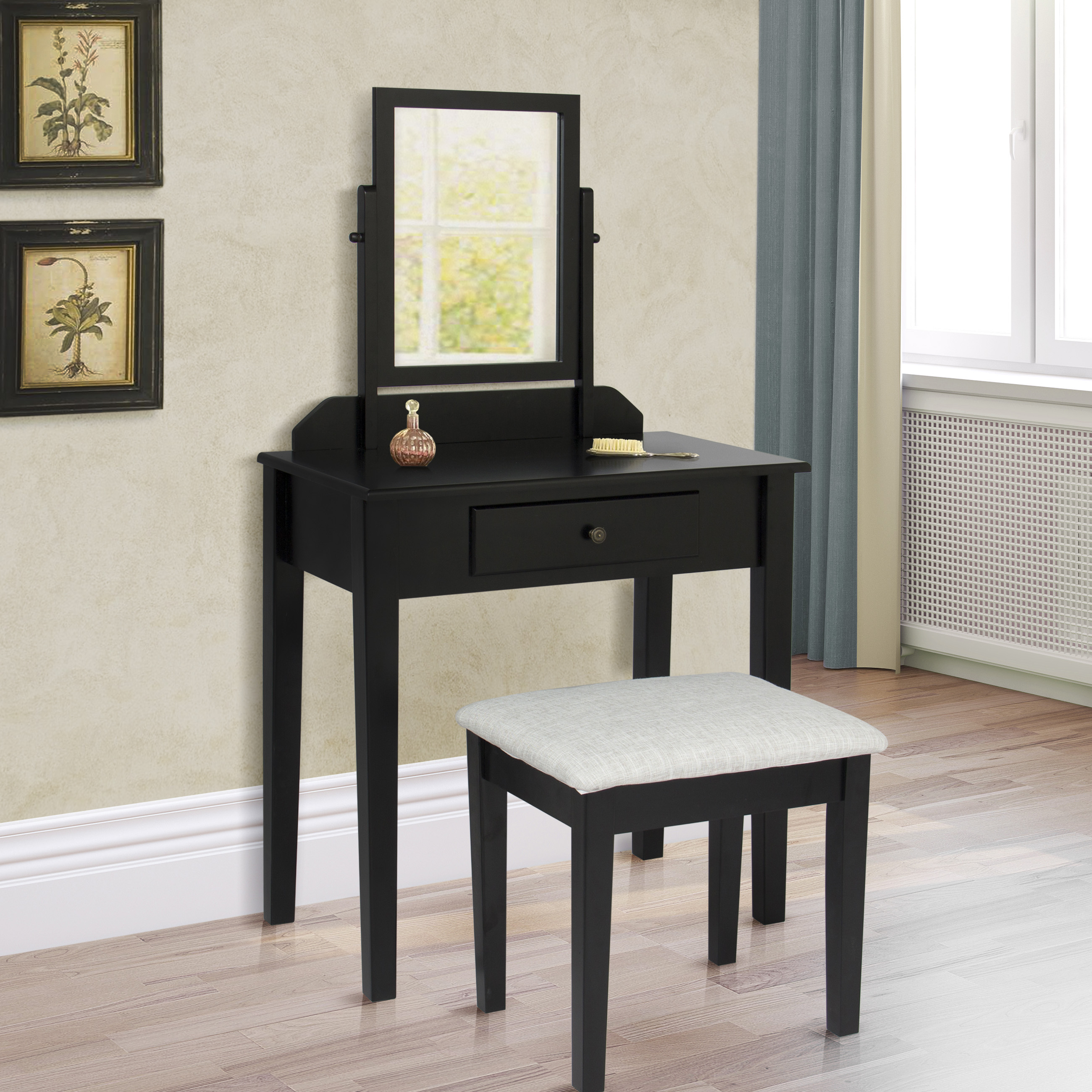 Bobkona St. Croix 3 Fold Mirror Vantiy Table With Stool Set In Black    Walmart.com