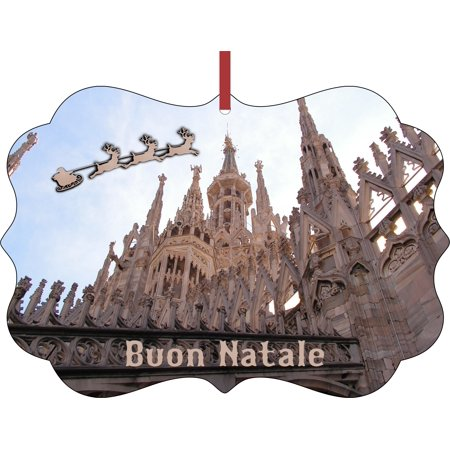 Santa and Sleigh Riding Over The Milan Cathedral (Duomo)  -  Aluminum SemiGloss Quality Aluminum Benelux Shaped Hanging Christmas Holiday Tree Ornament Made in the U.S.A.