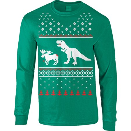 T-Rex Attack Moose Long Sleeve Ugly Christmas Sweater Funny Shir