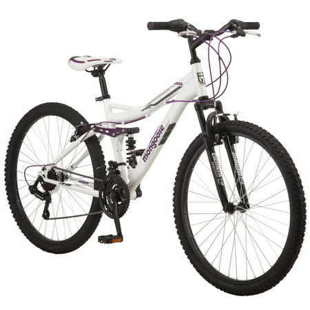 Mongoose Ledge 2.1 Mountain Bike, 26-inch wheels, 21 speeds, womens frame, white Feminine Womens Mountain Bike