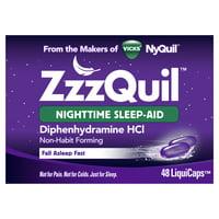Vicks ZzzQuil Nighttime Sleep Aid LiquiCaps, 48 Ct