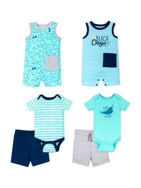 Little Star Organic Baby Boy 100% Organic Cotton Star-Pack Mix 'n Match Outfits, 6pc Gift Bag Set