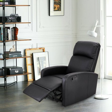 Costway Manual Recliner Chair Lounger PU Leather Sofa Seat Living Room Black - image 8 of 8