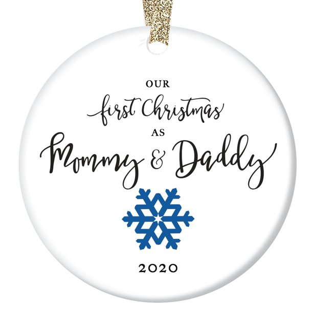 New Parents Christmas Ornament 2020 Our First Christmas as Mommy & Daddy 2020, New Parents Ornament