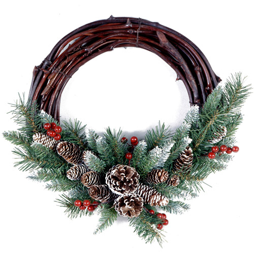 """National Tree 16"""" Frosted Berry Grapevine Wreath"""